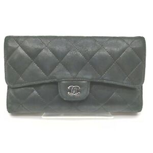 Chanel Long Wallet  Black Leather 1603504
