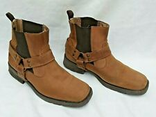 NEXT BROWN LEATHER PULL ON COWBOY CHELSEA HARNESS BOOTS EU45 UK11 FREE UK P&P!!