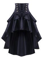 Women's Victorian High Waist Lace Up High Low Skirt SteamPunk Retro Gothic Dress