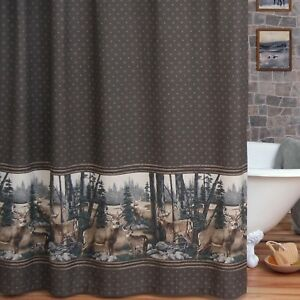 "Blue Ridge Trading Whitetail Dreams Fabric Shower Curtain 72"" x 72"" Deer Cabin"