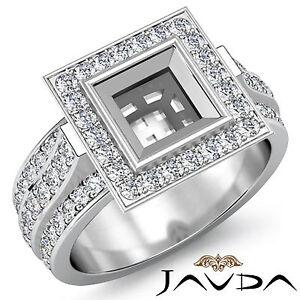 Diamond Engagement Ring Halo Setting 18k White Gold Princess Semi Mount 1.65Ct