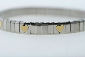 Stainless Steel & 14k Gold Heart Italian Charm Bracelet