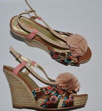 SEYCHELLES 9 M BEIGE LEATHER FLOWER PRINT FABRIC ROPE PLATFORM WEDGE HEEL SANDAL