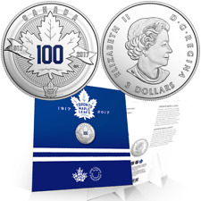 1917-2017 Toronto Maple Leafs 100th Anniversary $3 Pure Silver Proof Coin Canada
