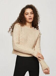Miss Selfridge Womens Beige Jewel Shoulder Jumper Knitwear Sweater Pullover