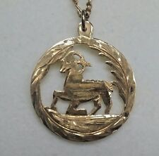 "Vintage18 k Solid Gold Zodiac Sign of Capricorn Round Pendant 1 "" in Diameter"