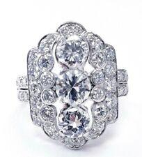 Natural Antique Ring Vintage Platinum Art Deco 4 CT Diamonds D/VS1 Size 7.75