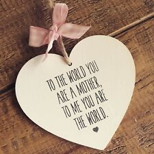 Mother Plaque Mum World Gift Present Keepsake Heart Birthday Friend Love Sign
