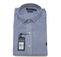"Ralph Lauren Mens Shirt Striped Custom Fit Blue / White Size 16"" 40-41"