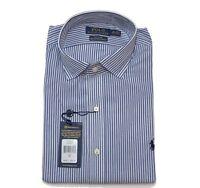 "Ralph Lauren Mens Shirt Striped Custom Fit Blue / White Size 16"" 40-41"