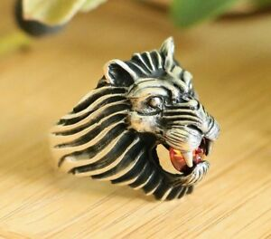Lion Signet Men's Rings High Quality 925 Sterling Silver with Red Cubic Zirconia