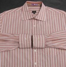 PAUL SMITH SIGNATURE MEN'S (L) 100% COTTON PEACH STRIPED BUTTON-DOWN DRESS SHIRT