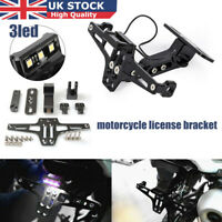 Adjustable Motorcycle CNC Number Plate Tail Tidy Lisence Bracket & LED Light