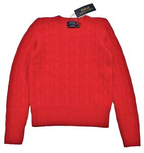 RALPH LAUREN boys 100% ITALIAN CASHMERE Cable JUMPER 8/9Y Pullover