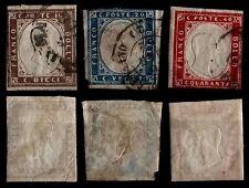 ROYAUME : n° 2, 3 et 4 de 1862, Oblitérés = Cote 282 € / Lot Timbres ITALIE
