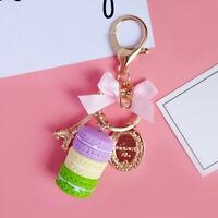 Cute Macaron Cake Pendant Car Key Ring Keychain Alloy Holder Bag Purse