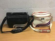 LONSDALE FLIGHT BAG / SCHOOL BAG SATCHEL BLACK AND WHITE