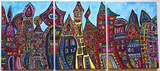 Die Stadt von feva - Acryl Malerei 3 teilig Gemälde Original Leinwand Unikat