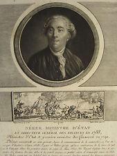 1802 Stampa RIVOLUZIONE FRANCESE ~ NECKER Ministro di Stato Direttore delle Finanze 1788