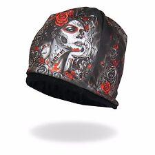 HD Sublimation Muete Sugar Skull Rose Skull Biker Stocking Cap Beanie Knit