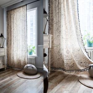 Boho Ethnic Curtains Print Tassel Fringe Window Drapes Cotton Linen Treatment