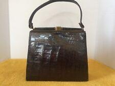 Vintage Art Deco Alligator Leather Large Clutch Purse Wine Burgundy Fold Flap