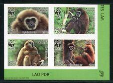 Laos Lao 2008 WWF Gibbons Monkeys Zusammendruck 2062-65 B Imperf MNH