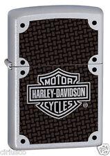 Harley Davidson Emblem Color Image Satin Chrome Zippo Lighter