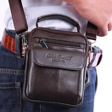 Men's Cowhide Leather Small Bag Shoulder Messenger Bags Belt Waist Pack Purse