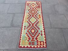 Vintage Kilim Traditional Hand Made Oriental Red Wool Kilim Runner 194x65cm