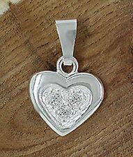 Echt Silber 925 Anhänger Herz mit 3 Zirkonia Herzanhänger mit Organzabeutelchen