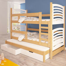 Bunk Bed OLI 4B with Mattresses, Storage Container, Pine Wood, MDF Board, New