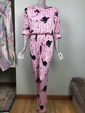 Vintage Act 1 80s Cotton candy Pink abstract print Jumpsuit Catsuit pants 11/12