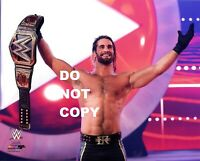 "WWE PHOTO SETH ROLLINS WRESTLING 8x10"" PROMO WITH TITLE BELT WRESTLEMANIA"