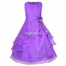 Blumen-Mädchen Kinder Festkleid Hochzeit Sommer Prinzessin Abend Kleid Gr.92-164