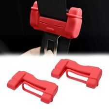 2X Red TPU Soft Plastic Car Safety Belt Buckle Scratch-resistant Protective Case