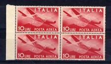 ITALIA 1947 POSTA AEREA Serie Democratica 10 LIRE QUARTINA Filigrana RUOTA MNH**