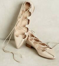 NEW Anthropologie Billy Ella gold metallic Leather Lace Up Flats pointy toe 7.5