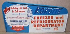 Vtg KORDITE FREEZER & REFRIG Dept Sign Win Holiday AMERICAN AIRLINES LIFE Maga