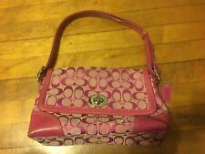 COACH authentic #F13066 Purse Shouder bag Canvas logoprint Leather trim Pink