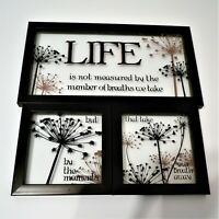 "Set of Three Picture Frames With ""Life is Not Measured "" Quote Decorated Plastic"