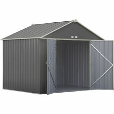 Arrow EZEE Shed Steel Storage Shed- 10ft x 8ft High Gable Charcoal w/Cream Trim