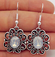 Pretty New Tibetan Silver Opal Crystal Flower Silver Hook Dangle Drop Earrings