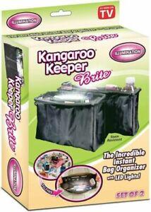 Purse Bag Organizer Kangaroo Keeper Brite  - Black - Illuminated - Set of 2