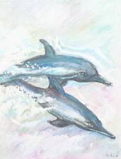 Dolphins pastel drawing signed