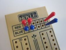 Cribbage Card Game Board 2 Player 60 Hole Red Blue Pegs Plastic Vintage Hoyle VG