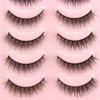 5 Pairs Natural Short Cross False Eyelashes Handmade Makeup Fake Eye Lashes A#