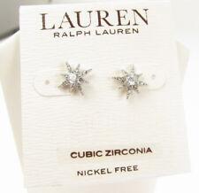 Ralph Lauren Silver Tone ESTATE Cubic Zirconia Pave Star Stud Earrings NEW
