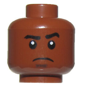 LEGO NEW REDDISH BROWN MINIFIGURE HEAD BOY GUY FROWN FACE RAISED EYEBROW PIECE