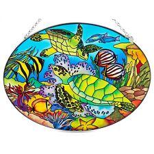 "Sea Turtles and Tropical Fish Glass Suncatcher By Amia Studios 8.75"" x 6.5"""